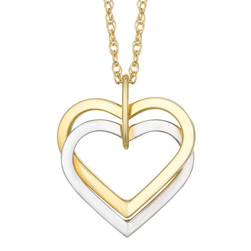 Together Silver & 9ct Bonded Gold Double Heart Pendant - Product number 8064881