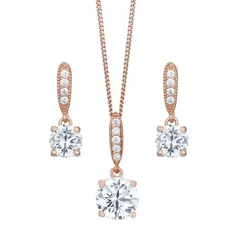 9ct Rose Gold Plated Cubic Zirconia Earring & Pendant Set - Product number 8064911