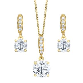 9ct Gold Plated Cubic Zirconia Earring & Pendant Set - Product number 8064938