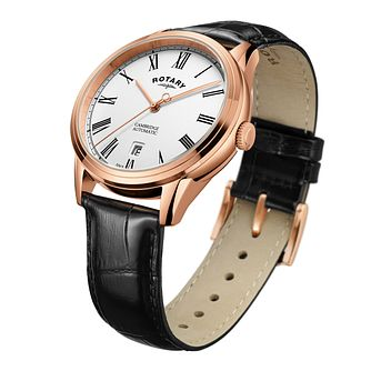 Rotary Cambridge Men's Rose Gold Plated Black Strap Watch - Product number 8070555