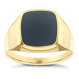 9ct Yellow Gold Cushion Onyx Ring - Product number 8071462