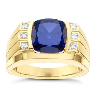 9ct Yellow Gold Created Blue Sapphire Ring - Product number 8071861