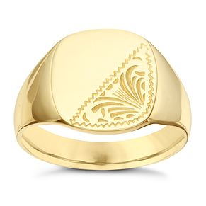 9ct Yellow Gold Patterned Cushion Ring - Product number 8072086