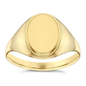 9ct Yellow Gold Oval Plain Ring - Product number 8072205