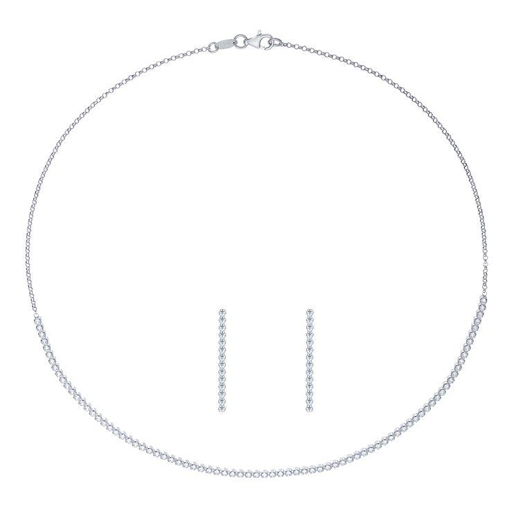 Sterling Silver Necklace & Earring Set - Product number 8077185