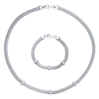 Silver & Rhodium Plated Necklace & Bracelet Set - Product number 8077614