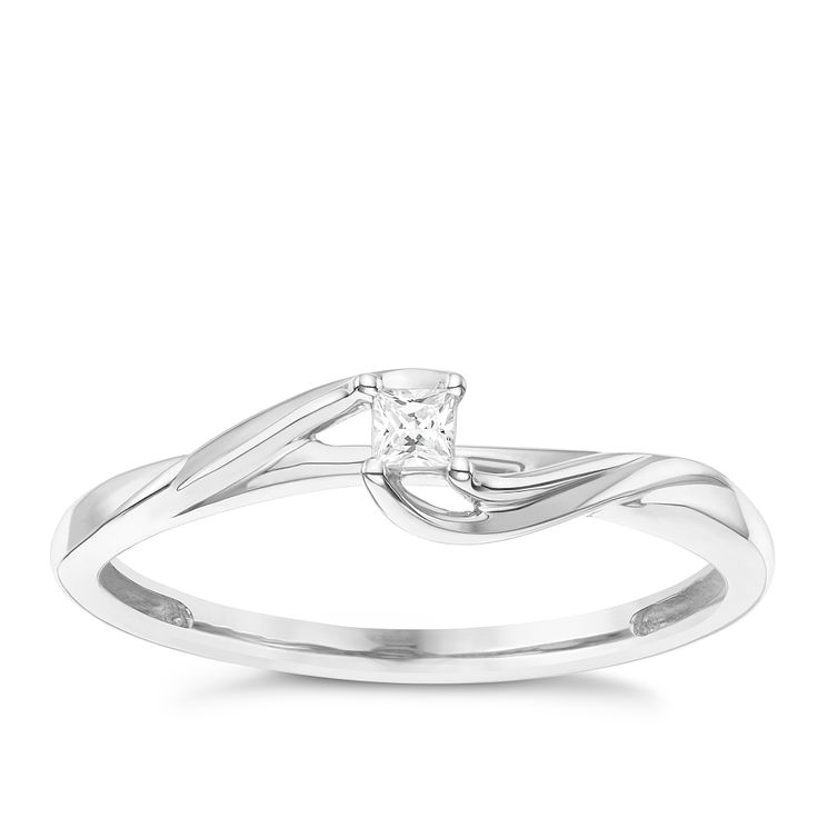 9 Carat White Gold Diamond Twisted Shoulder Ring - Product number 8078076