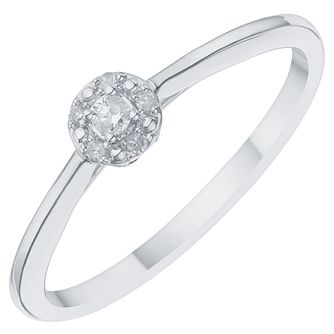 9 Carat White Gold Round Halo Solitaire Ring - Product number 8078211