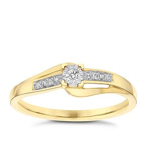 9 Carat Yellow Gold Diamond Set Shoulder Solitaire Ring - Product number 8078343