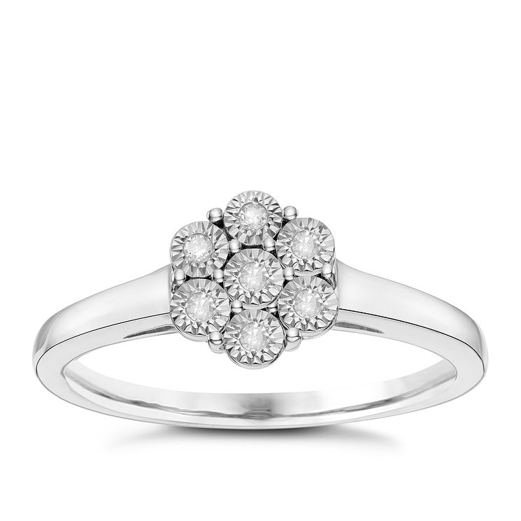 Sterling Silver Diamond Illusion Cluster Ring - Product number 8078610