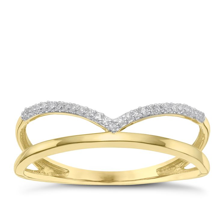 9 Carat Yellow Gold Diamond Wishbone & Straight Ring - Product number 8079390