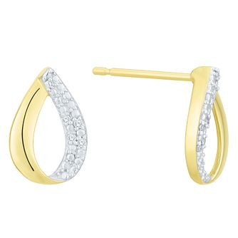 9 Carat Yellow Gold Diamond Teardrop Shape Earrings - Product number 8079854