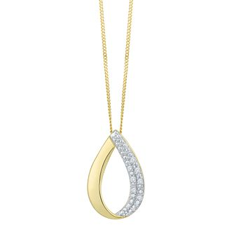9 Carat Yellow Gold Diamond Teardrop Shape Pendant - Product number 8079897