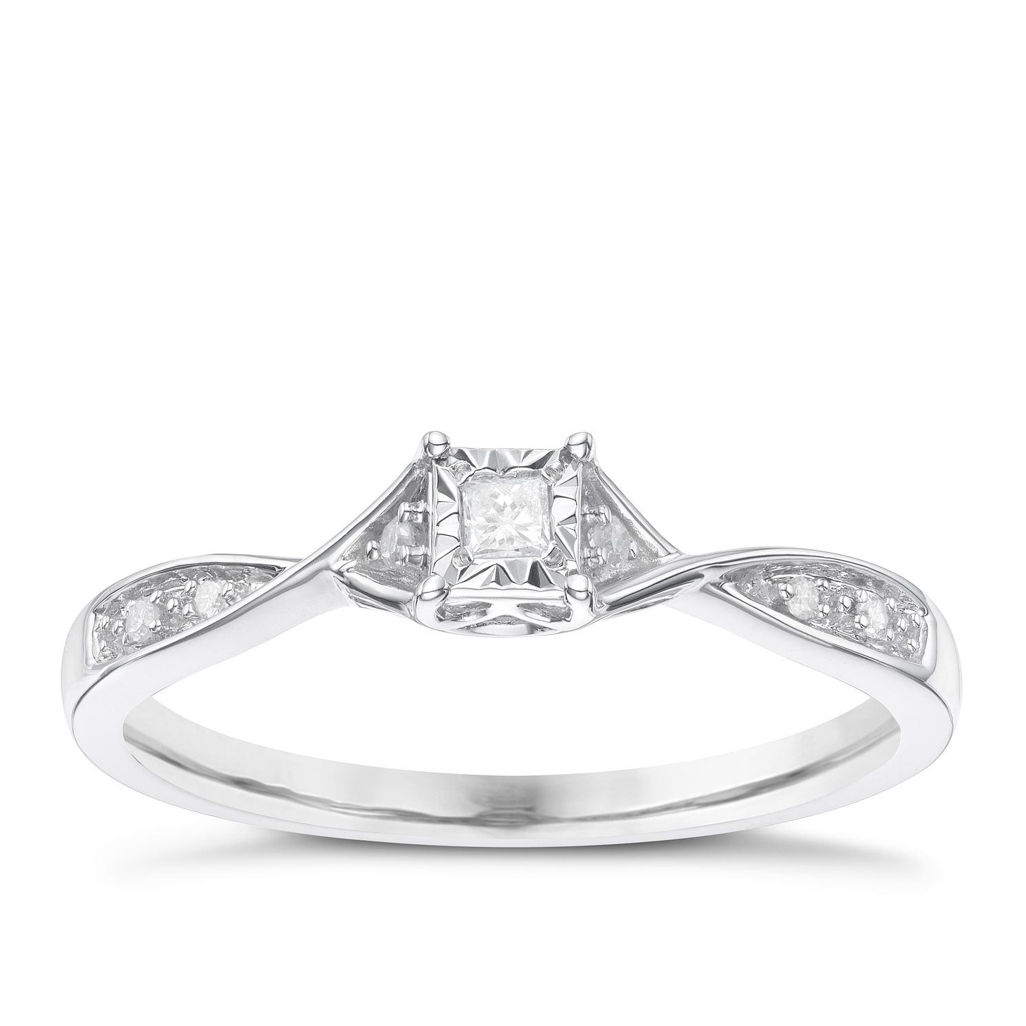 9 Carat White Gold Diamond Set Shoulder Solitaire Ring