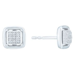 Sterling Silver Square Cluster Diamond Earrings - Product number 8080054