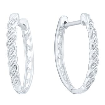Sterling Silver Twist Hoop Diamond Earrings - Product number 8080097