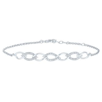 Sterling Silver Diamond Chain Link Bracelet - Product number 8080135
