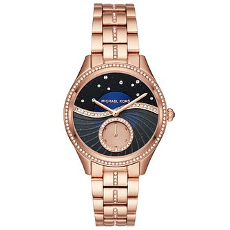 Michael Kors Lauryn Ladies' Rose Gold Tone Stone Set Watch - Product number 8080585