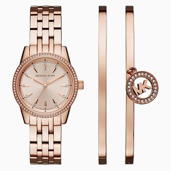 Michael Kors Ritz Ladies Rose Gold Tone Watch and Bangle Set - Product number 8080690