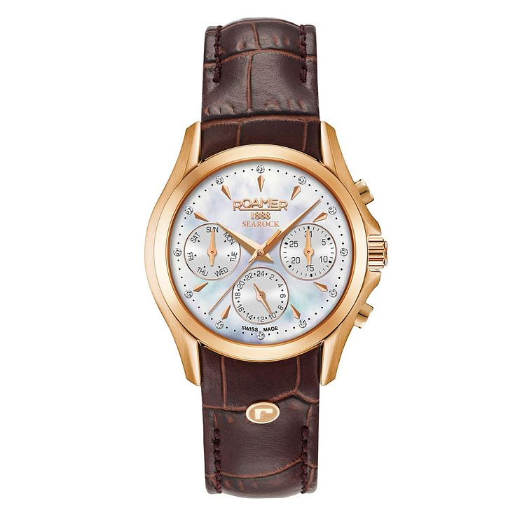 Roamer Searock Ladies' Brown Leather Strap Chronograph Watch - Product number 8081204