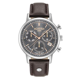 Roamer Men's Black Leather Strap Chronograph Watch - Product number 8081255