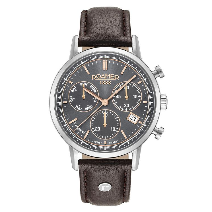 Roamer Vanguard Chrono II Men's Black Leather Strap Watch - Product number 8081255