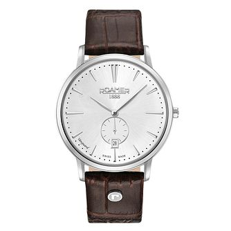 Roamer Vanguard Slim Line Men's Brown Leather Strap Watch - Product number 8081263