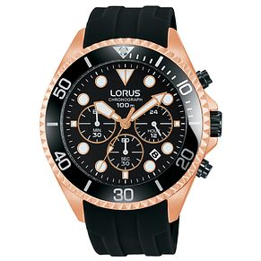 Lorus Men's Black Silicone Strap Chronograph Watch - Product number 8081484