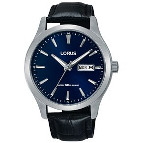 Lorus Men's Black Leather Strap Watch - Product number 8081506
