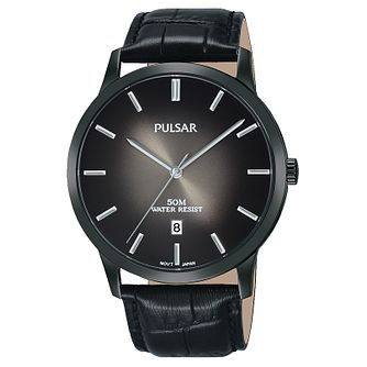 Pulsar Men's Black Leather Strap Watch - Product number 8081581