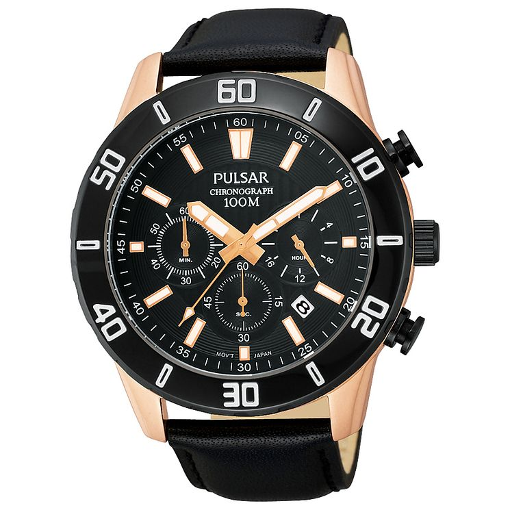 Pulsar Men's Rose Gold Tone Chronograph Black Strap Watch - Product number 8081603