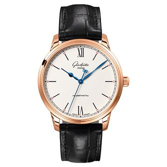 Glashutte Senator Men's 18ct Rose Gold Black Strap Watch - Product number 8084378