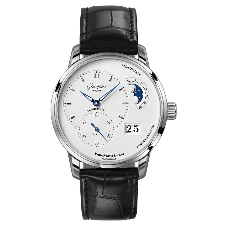 Glashutte PanoMatic Lunar Men's Moonphase Black Strap Watch - Product number 8084556