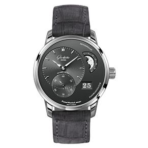 Glashutte PanoMatic Lunar Men's Moonphase Black Strap Watch - Product number 8084564