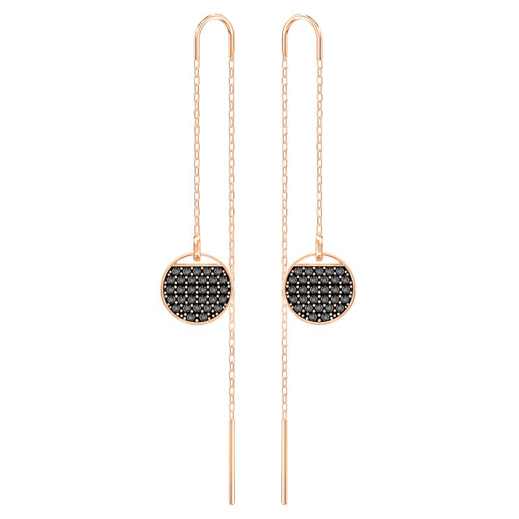 Swarovskib Rose Gold Plated Black Crystal Drop Earrings - Product number 8085129