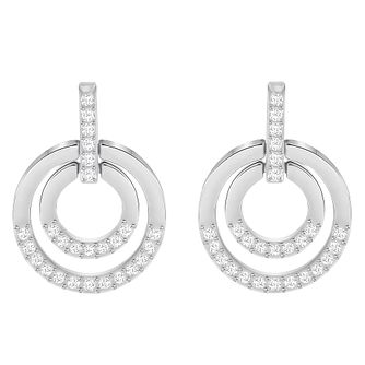 Swarovski Rhodium Plated Circle Drop Earrings - Product number 8085145