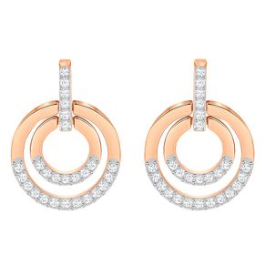 Swarovski Rose Gold Plated Circle Drop Earrings - Product number 8085153