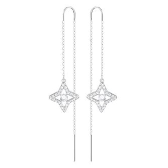 Swarovski Sparkling Rhodium Plated Drop Earrings - Product number 8085196