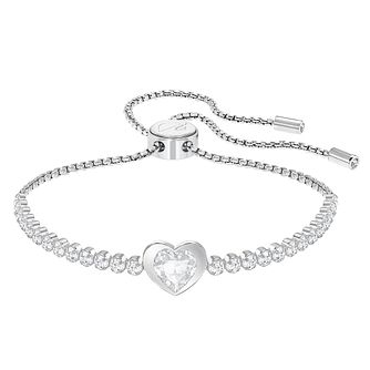 Swarovski Rhodium Plated Adjustable Heart Bracelet - Product number 8085536