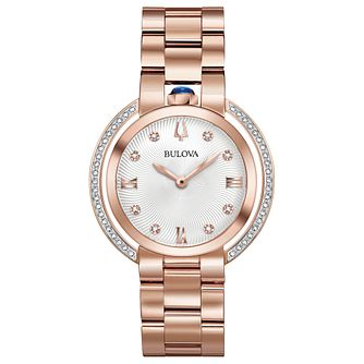 Bulova Ladies Rubaiyat Diamond & Rose Gold Tone Watch - Product number 8087806