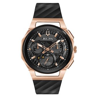 Bulova Men's Curv Black & Rose Gold Tone Chronograph Watch - Product number 8087849