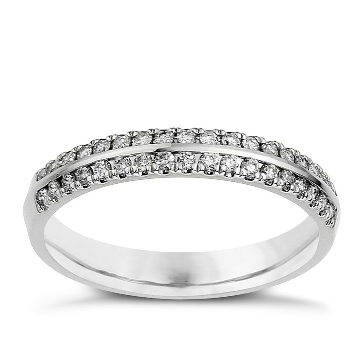 18ct White Gold 1/4ct Diamond 2 Row Ring - Product number 8090882