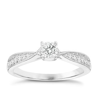 9ct White Gold 1/5ct Diamond Solitaire Ring - Product number 8100756