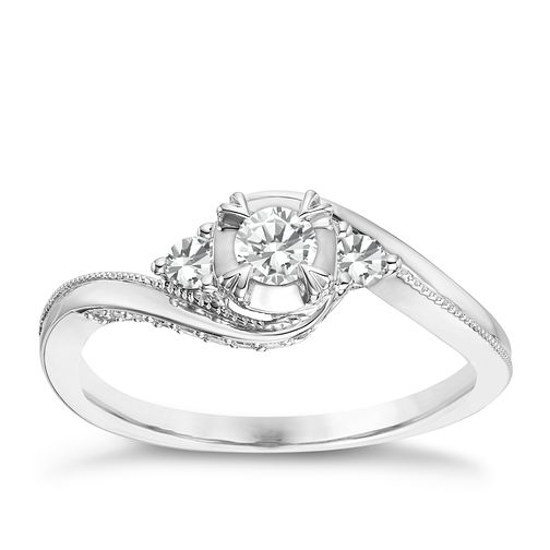 9ct White Gold 1/3ct Diamond Solitaire Ring - Product number 8100918