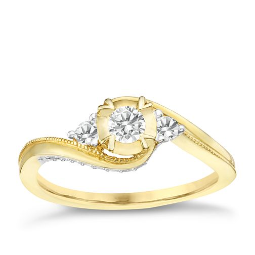 9ct Yellow Gold 1/3ct Diamond Solitaire Ring - Product number 8101035