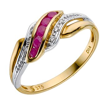9ct yellow gold ruby/diamond ring - Product number 8102422