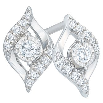 9ct White Gold 1/10ct Diamond Twist Earrings - Product number 8103267