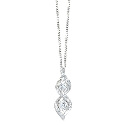 9ct White Gold 1/10ct Diamond Twist Pendant - Product number 8103275