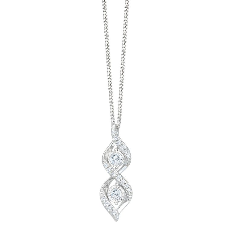 Diamond necklaces hmuel 9ct white gold 110ct diamond twist pendant product number 8103275 aloadofball Images