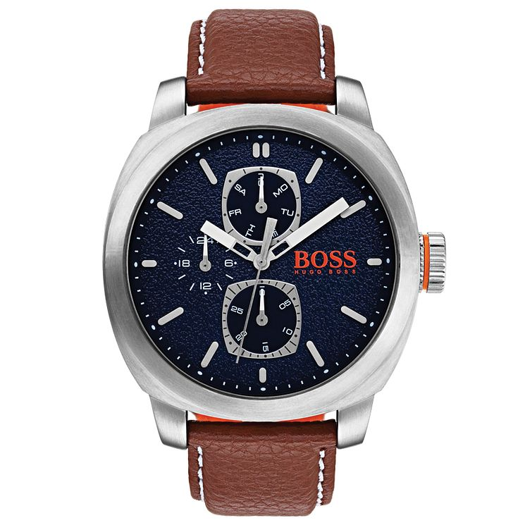 Boss Orange Men's Brown Leather Strap Watch - Product number 8104662